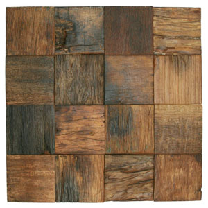 "Reclaimed Boat Wood Tile 3"" x 3"""